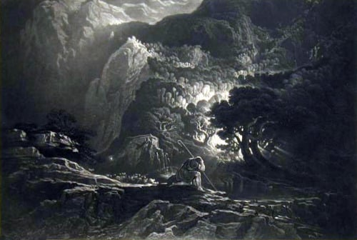 John Martin -- Moses and the Burning Bush
